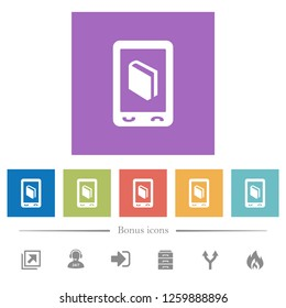 Mobile dictionary flat white icons in square backgrounds. 6 bonus icons included.