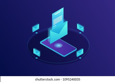Mobile e-mail notification concept. Communication, information dissemination, sending email. Isometric vector illustration.