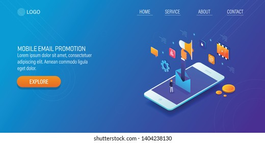 Mobile email promotion, email marketing, Mobile advertising, 3D, isometric vector landing page with icons and texts