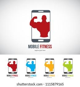Mobile Fitness - Fitness Icon,  Logo, Template, Design Vector