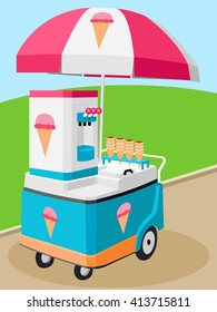 Mobile food umbrella cart vector cartoon sell ice cream sweet childhood memory in carnival all objects isolated eps 10