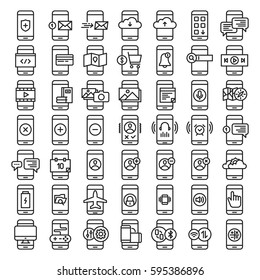 Mobile Functions Icons Smartphone Kit Set Collection