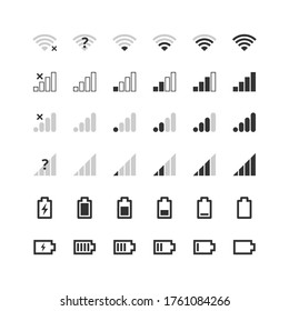 Mobile gadget bar icons set. Wi-fi level, 4g and 5g network signal strength, battery charge indicator. Communication, phone system symbols collection. Vector illustration for web, app, ui, interface.
