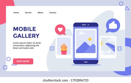 Mobile gallery picture on display smartphone screen campaign for web website home homepage landing page template banner with modern flat style