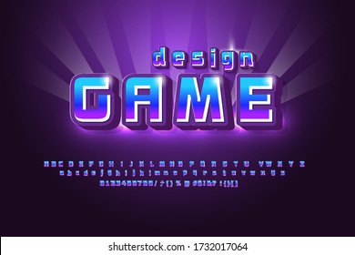 mobile game logo bright and shiny design template, design game name modern and simple style, gradient background, bright alphabet vector font