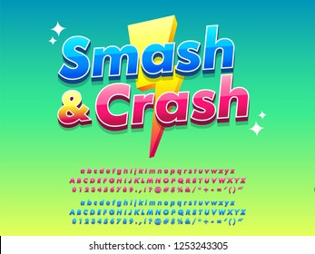 mobile game logo type bright and shiny design template, gamer title modern and simple style, gradient background, red and blue, vector font alphabet