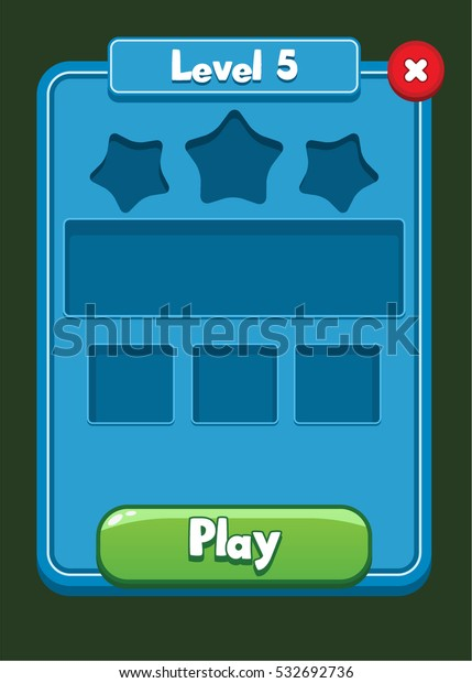 Mobile Game Ui Level Completed Screen Stock Vector (Royalty