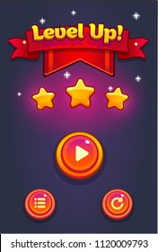 Mobile Game UI Pop Up Level Up. Cartoon game popup with buttons,  ribbon and shiny stars. Level Up Popup . Graphical user interface, GUI, to build 2D web, video and mobile games.Vector game ui.