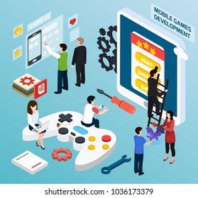 Mobile games development isometric composition on blue background with electronic devices, rating of gamer, teamwork vector illustration