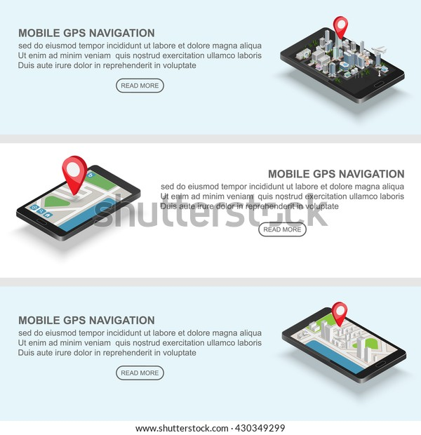 Mobile Gps Navigation Banners Concept Smartphone Stock