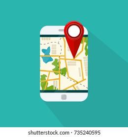 Mobile GPS navigation service.  Map on application. Mobile phone with navigation application. Vector illustration.