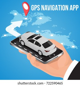 Mobile GPS navigation, travel and tourism concept.