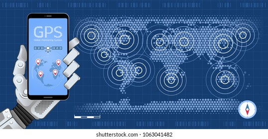 Mobile GPS Tracker. Mechanical hand of a robot holding smartphone showing mobile app on background of world map. Vector illustration on the subject of 'Global Positioning System'.