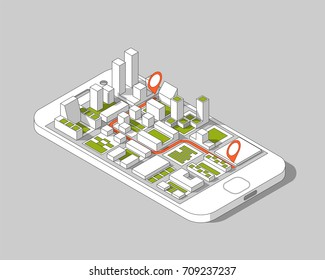 Mobile gps and tracking concept. Location track app on touchscreen smartphone, on isometric city map background. 3d vector illustration.