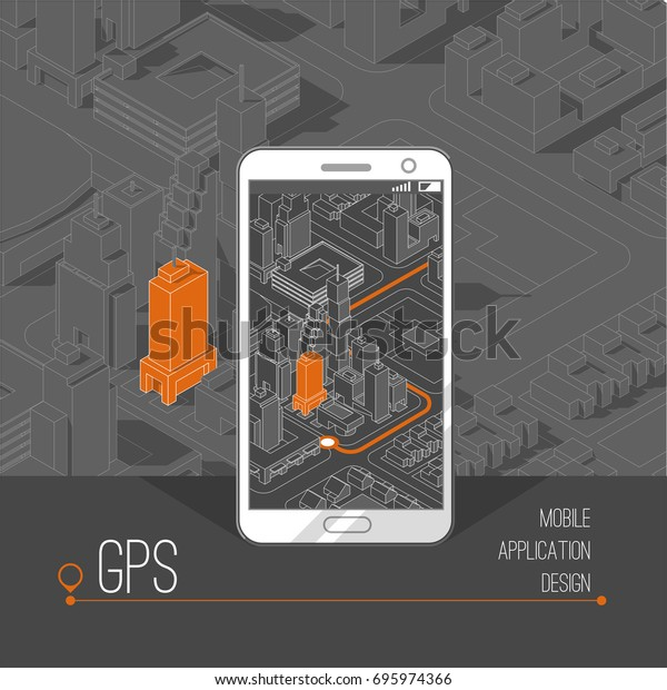 Mobile Gps Tracking Concept Location Track Stock Vector
