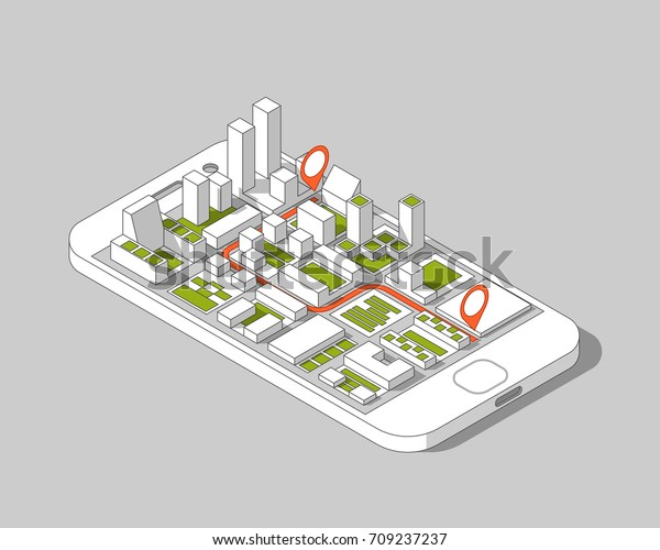 Mobile Gps Tracking Concept Location Track Stock Vector (Royalty