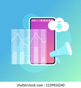 mobile graph synchronization cloud application interface concept for design work and animation flat vector illustration