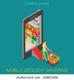 Mobile grocery shopping e-commerce online store flat 3d web isometric infographic concept vector electronic business sales. Woman with wheeled cart walks from market shop inside smartphone.