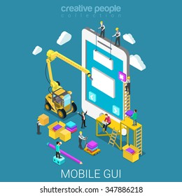 Mobile GUI prototype flat 3d isometry isometric app development concept web vector illustration. Micro people crane building graphical user interface UI/UX usability design. Creative people collection