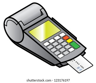 A mobile hand-held point of sale pin pad / terminal with a chipped card inserted.