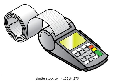A mobile hand-held point of sale pin pad / terminal  printing a long receipt.