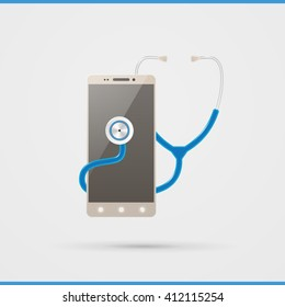 Mobile health analysis icon. Outlying healthcare logo on white background. Illustration remote diagnostics of physical condition.