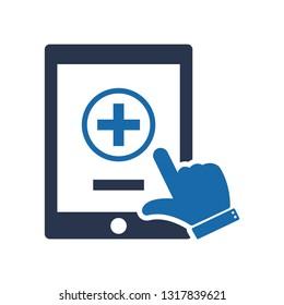 Mobile healthcare icon, Ehealth icon, Mobile healthcare icon, Health care Question Icon