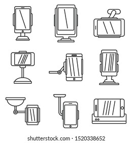 Mobile holder stand icons set. Outline set of mobile holder stand vector icons for web design isolated on white background