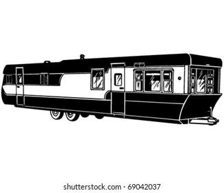 Mobile Home 2 - Retro Clipart Illustration