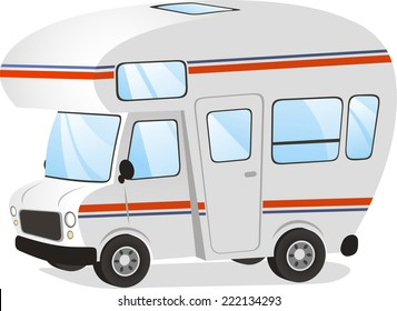 Mobile home Motor home Caravan Trailer Vehicle, vector illustration cartoon.