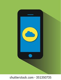 Mobile icon with cloud long shadow