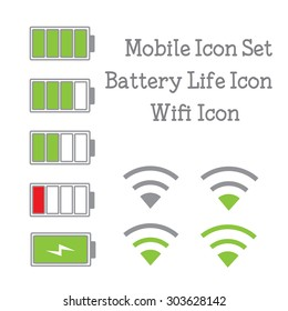 Mobile Icon set with battery life icon and wifi icon