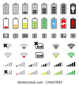 mobile icons - GUI design set - status bar icons - battery life icons