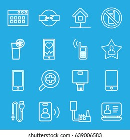Mobile icons set. set of 16 mobile outline icons such as no phone, laptop, heartbeat on phone, favourite user, cocktail, wire, zoom in, home, camera, call, cable
