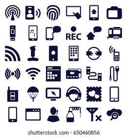 Mobile icons set. set of 36 mobile filled icons such as canister, finger on tablet, trailer, photo with heart, phone, wi-fi, operator, rec, mobile phone music, calendar, wire
