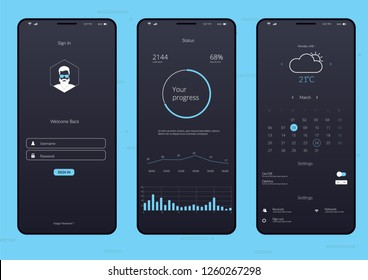 Mobile Infographics Application UI UX Vector Illustration