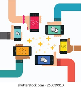 Mobile instant messenger chat with group of hands holding smartphone, vector
