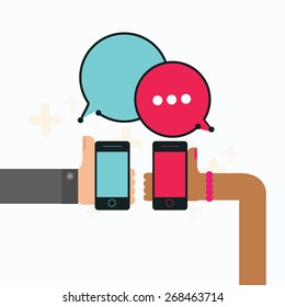 Mobile instant messenger chat with hands holding smartphone, vector