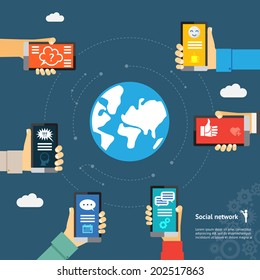 Mobile instant messenger globe network concept. Hands with smartphones around the globe