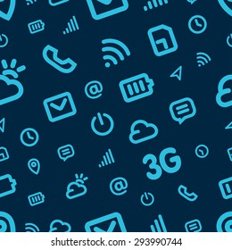 Mobile Interface Icon Pattern. Blue vector background