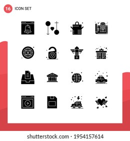 Mobile Interface Solid Glyph Set of 16 Pictograms of brand; plan; marriage; floor; blue print Editable Vector Design Elements