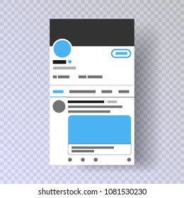 Mobile interface twitter   Photo frame Post in a social network   Mock up twitter Template account   Vector EPS10