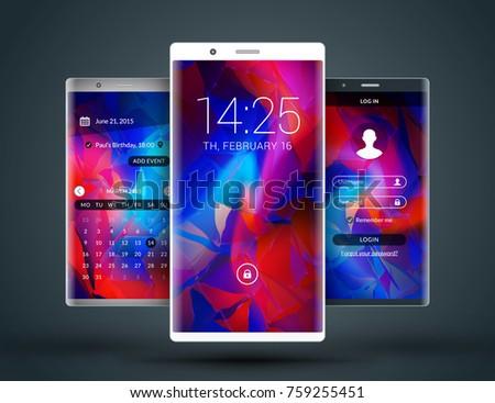 Mobile Interface Wallpaper Design Abstract Vector Image Vectorielle