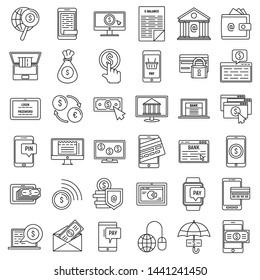 Mobile internet banking icons set. Outline set of mobile internet banking vector icons for web design isolated on white background
