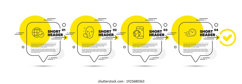 Mobile internet, World statistics and Face search line icons set. Timeline infograph speech bubble. Fast delivery sign. Online marketing, Global report, Find user. Stopwatch. Technology set. Vector
