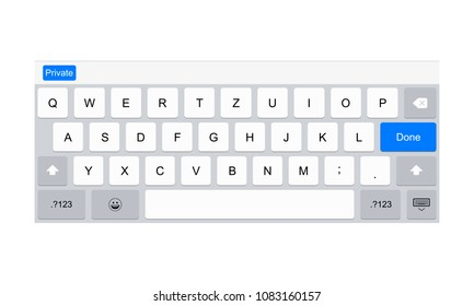 Mobile keyboard for tablet computer. Keypad template. Vector illustration