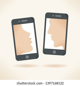 Mobile kiss message. Smartphones with kissing couple silhouettes on screen. Concepts: online relationships, social networking, chat, romance and flirting, declaration of love, Valentines day etc.