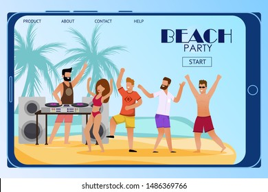 Mobile Landing Page Inviting to Beach Party. Flat Cartoon People Characters Crowd Dance on Sand under DJ Music. Disc Jockey Mixing Tracks on Turntable. Open Air Discotheque. Vector Summer Illustration