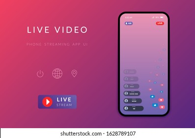 Mobile live streaming stories screen. Vector online video chat frame design, social media network post template. Story interface display mobile application mock up illustration