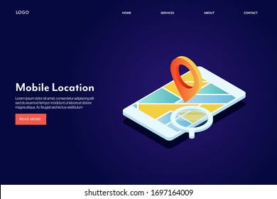 Mobile location, GPS navigation on mobile screen, Direction, Navigation app - conceptual 3D isometric vector landing page